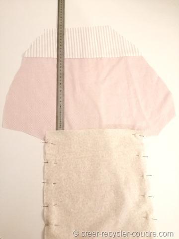 préparation de la doublure pour le porte pyjama