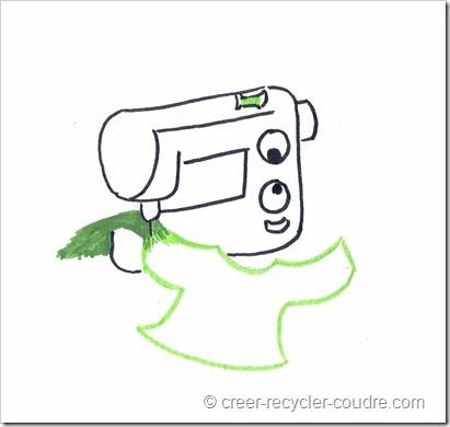 idée logo pour le blog_machine à coudre avec vêtement foncé en arrière et vêtement clair en premier plan.