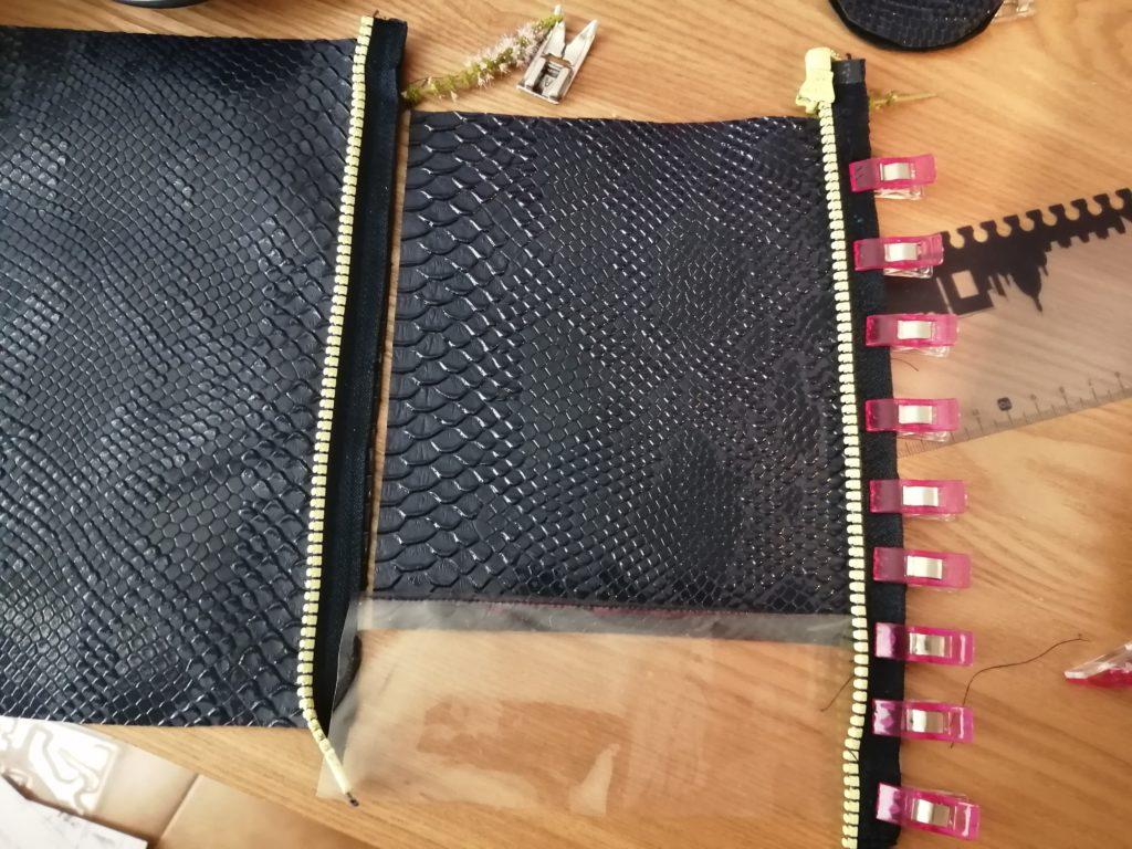 épingler la fermeture éclair au tissu - couture de la trousse facile