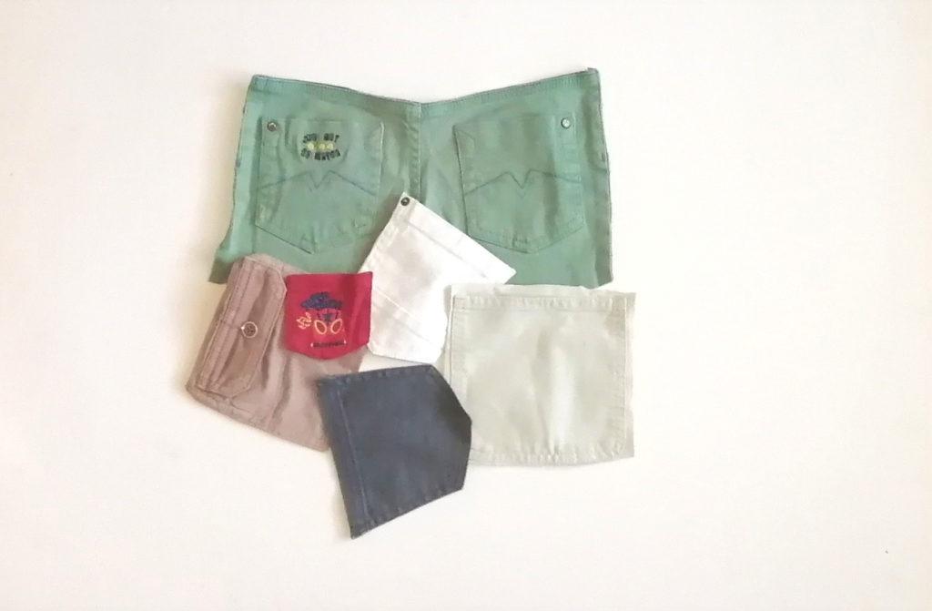différents types de poche, découpées dans des vêtements