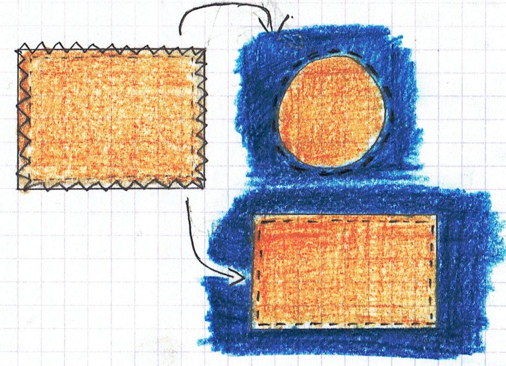 Point zig zag autour du tissu qui répare le trou, puis poser le tissu sur l'envers du vêtement et le coudre à l'endroit, ou poser le tissu sur l'endroit en pliant la zone de zig zag pour la cacher, et coudre par-dessus.