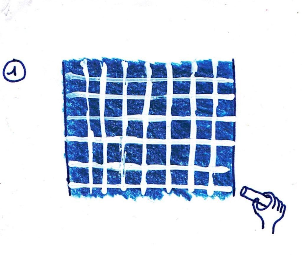 dessiner un quadrillage pour votre motif sashiko