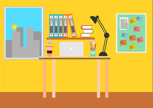 bureau rangé avec ordinateur, dossiers urgents, taches planifiées sur tableau